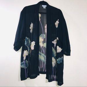 Silk Floral Calla Lily Print Kimono - #1152